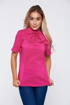 PrettyGirl office pink women`s blouse short sleeve
