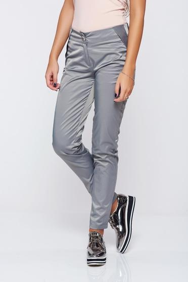 PrettyGirl grey conical trousers with pockets with medium waist