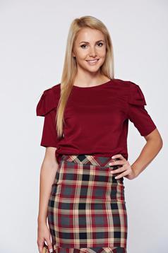 PrettyGirl office burgundy short sleeve women`s blouse cloth