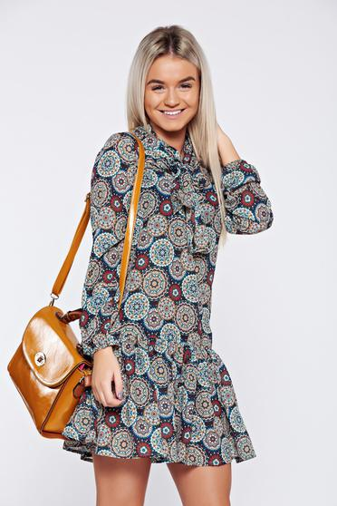 Dress PrettyGirl brown flared with long sleeves