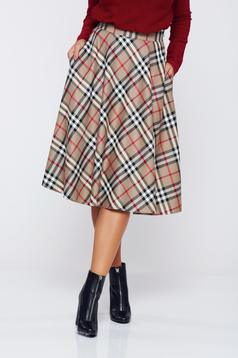 LaDonna cloche office cream skirt plaid fabric