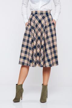 LaDonna cloche office blue skirt with plaid fabric