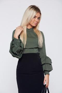 LaDonna office darkgreen women`s shirt with ruffled sleeves tented cut