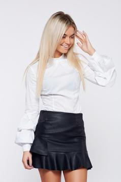 LaDonna office white women`s shirt with ruffled sleeves tented cut