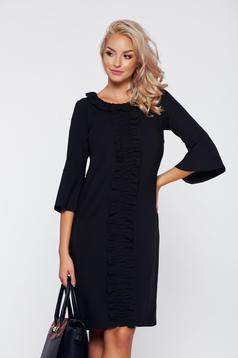 LaDonna office black bell sleeve dress with ruffle details
