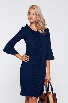 LaDonna office darkblue bell sleeve dress with ruffle details