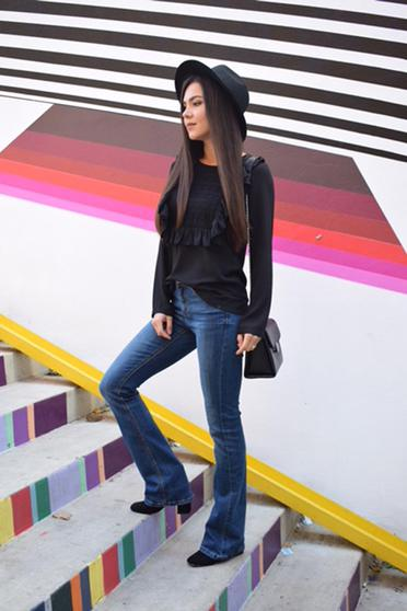 LaDonna easy cut black elegant women`s blouse lace details