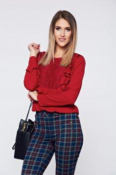 LaDonna easy cut burgundy elegant women`s blouse lace details