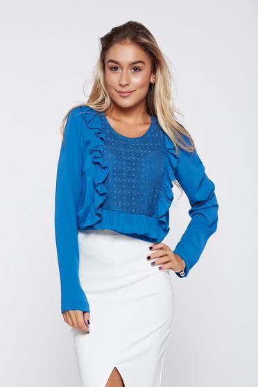 LaDonna easy cut blue elegant women`s blouse lace details