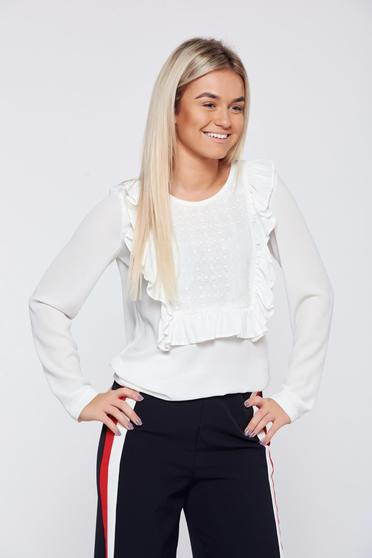 LaDonna easy cut white elegant women`s blouse lace details