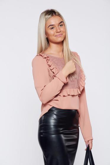 LaDonna easy cut peach elegant women`s blouse with lace details