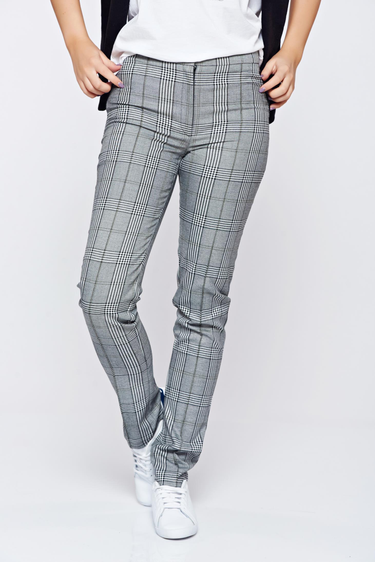 Pantaloni LaDonna gri office conici din stofa cu buzunare false