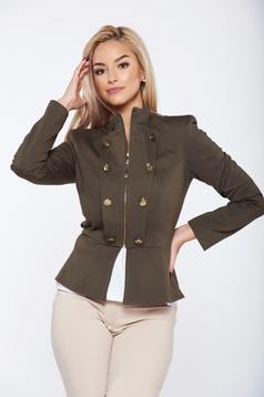 Jacket LaDonna darkgreen office inside lining button accessories