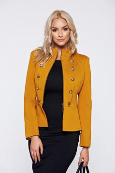 Jacket LaDonna yellow office inside lining button accessories