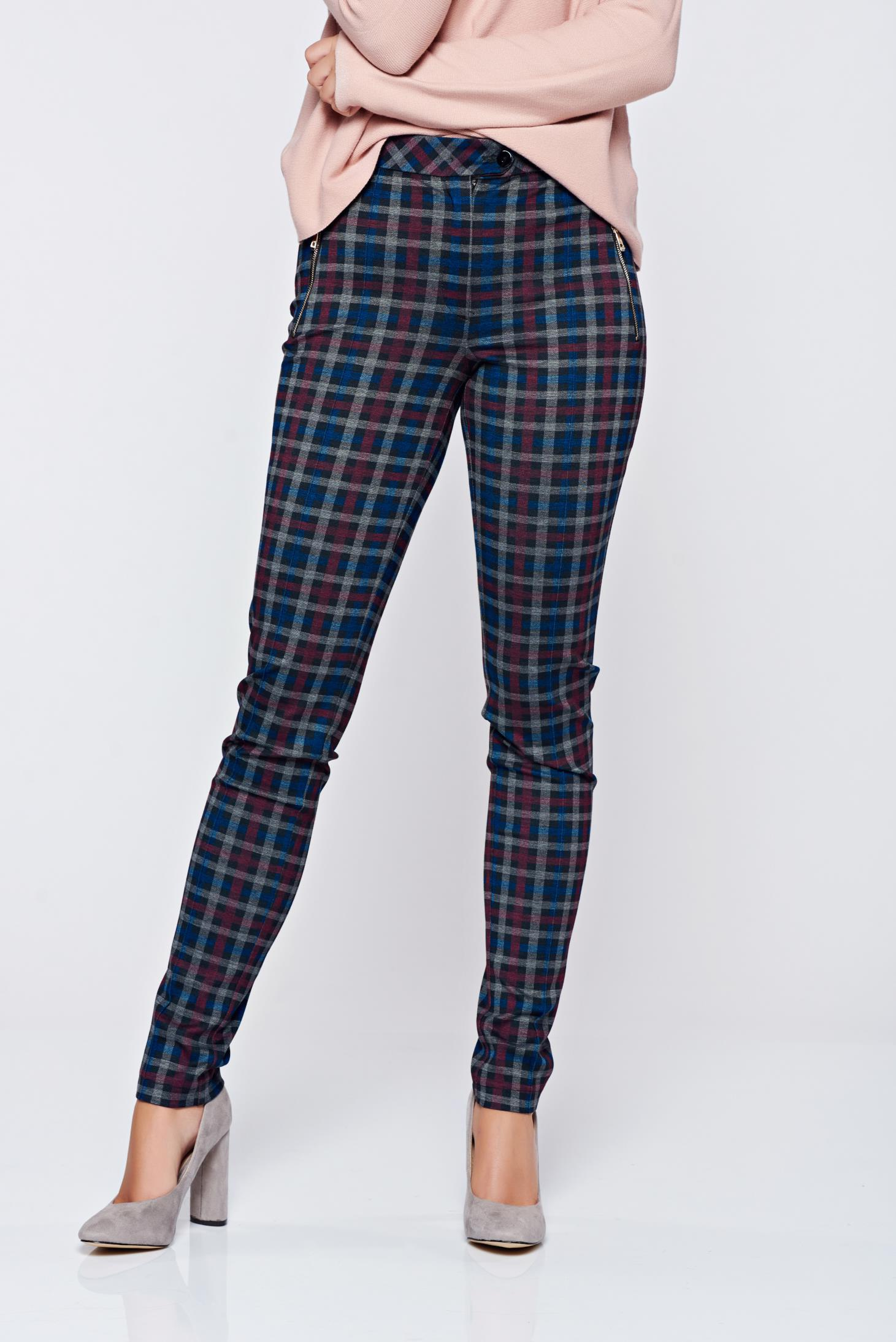 Pantaloni LaDonna albastri office conici cu talie medie carouri