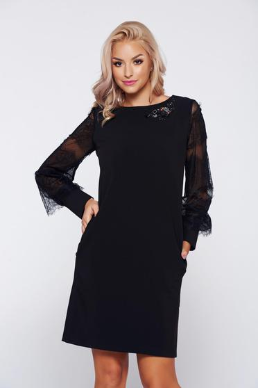 LaDonna black elegant easy cut dress laced sleeves