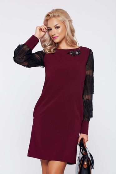 LaDonna burgundy elegant easy cut dress with laced sleeves