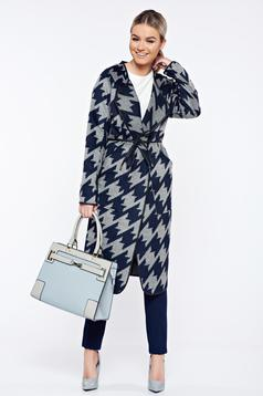 Top Secret darkblue casual straight coat with graphic details