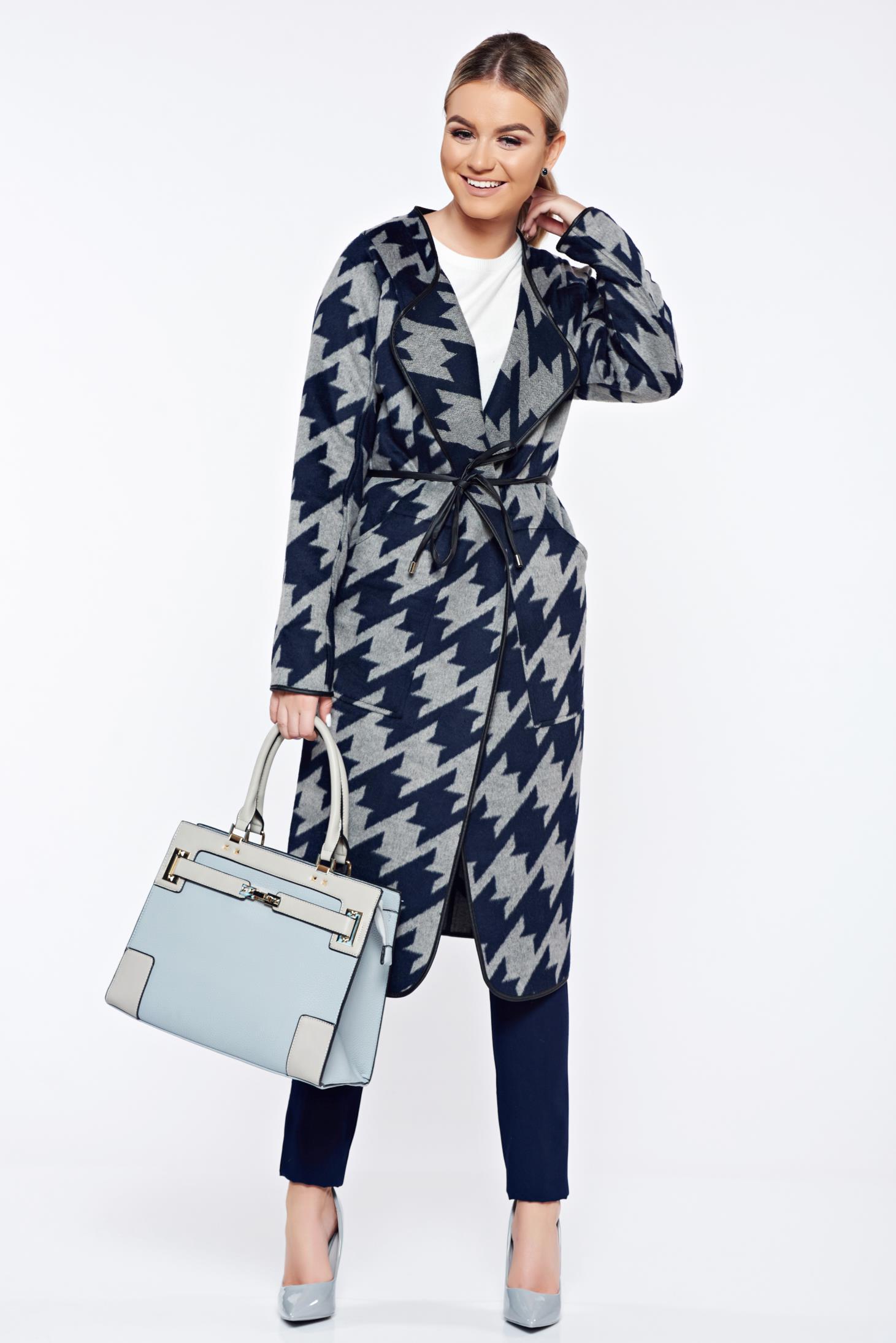 Palton Top Secret albastru-inchis casual drept cu imprimeuri grafice