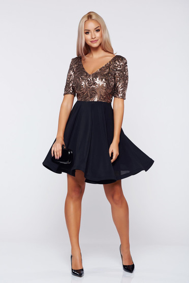 StarShinerS occasional brown voile fabric dress with sequin embellished details