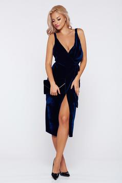 Occasional darkblue wrap around velvet dress