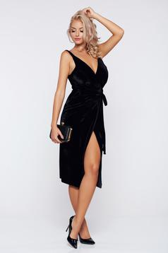 Occasional black wrap around velvet dress