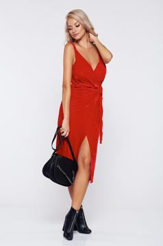 Occasional red wrap around velvet dress