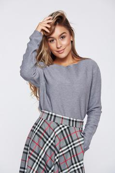 Asymmetrical grey casual easy cut sweater