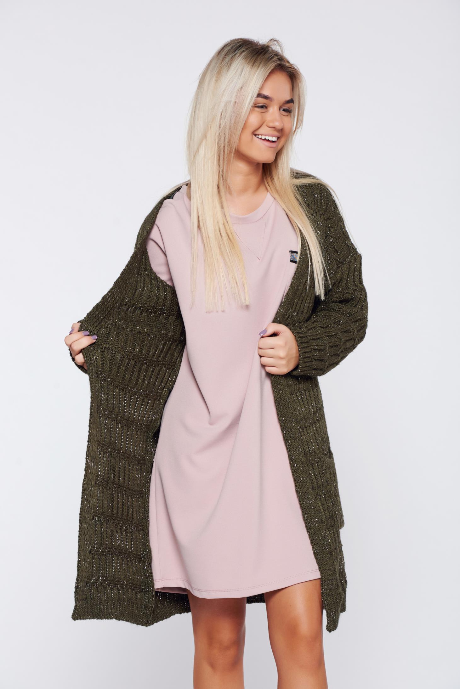 Cardigan khaki casual tricotat cu buzunare