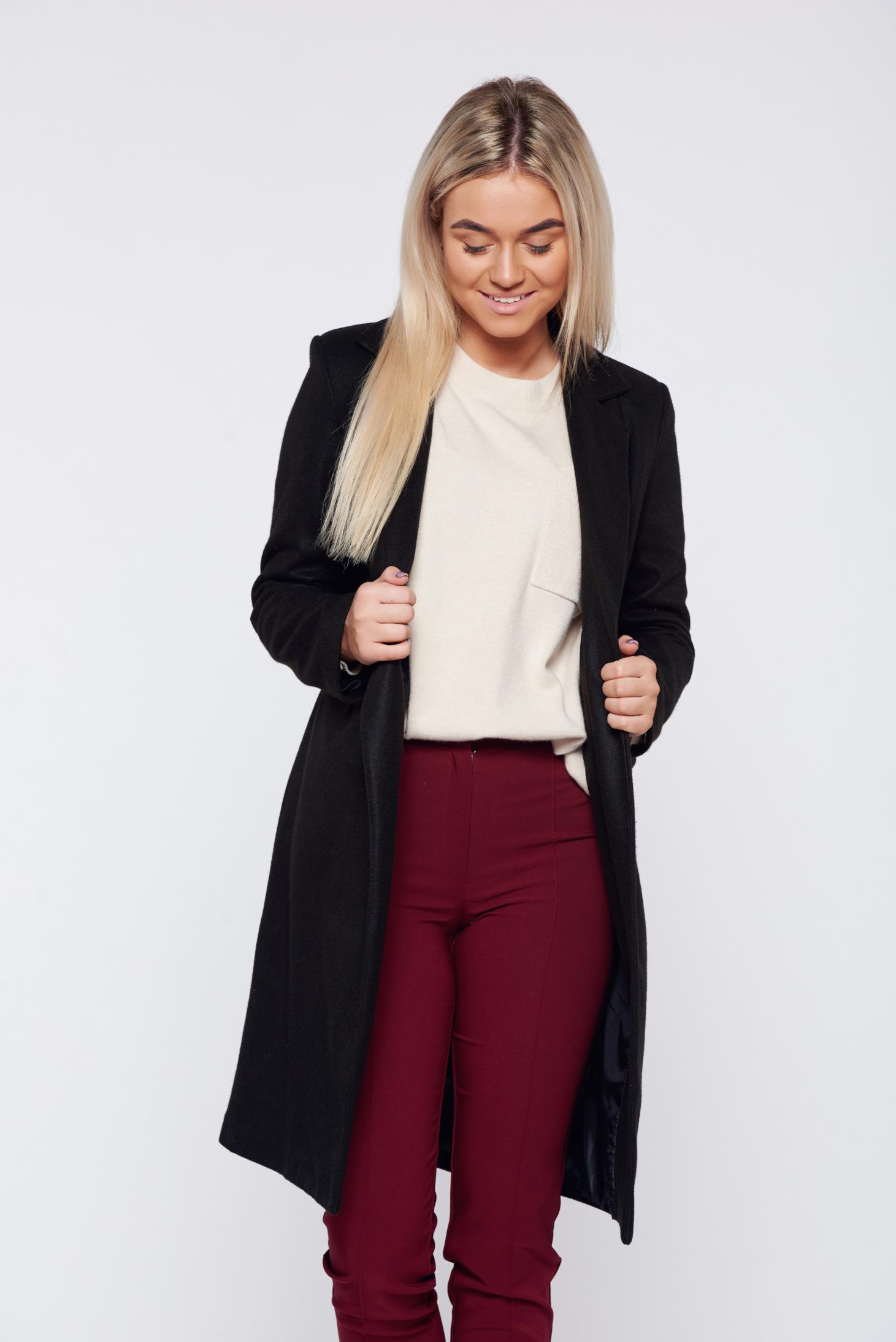Palton negru basic drept din stofa captusita pe interior