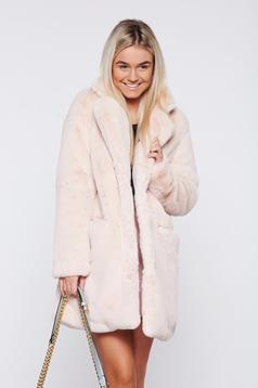 Lightpink elegant ecological fur coat front pockets