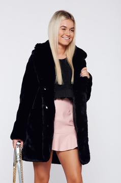 Black elegant ecological fur coat front pockets