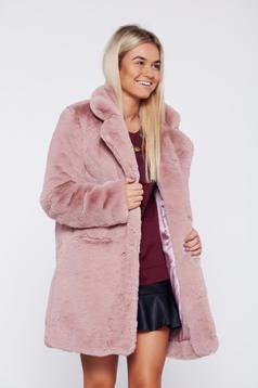 Rosa elegant ecological fur coat front pockets