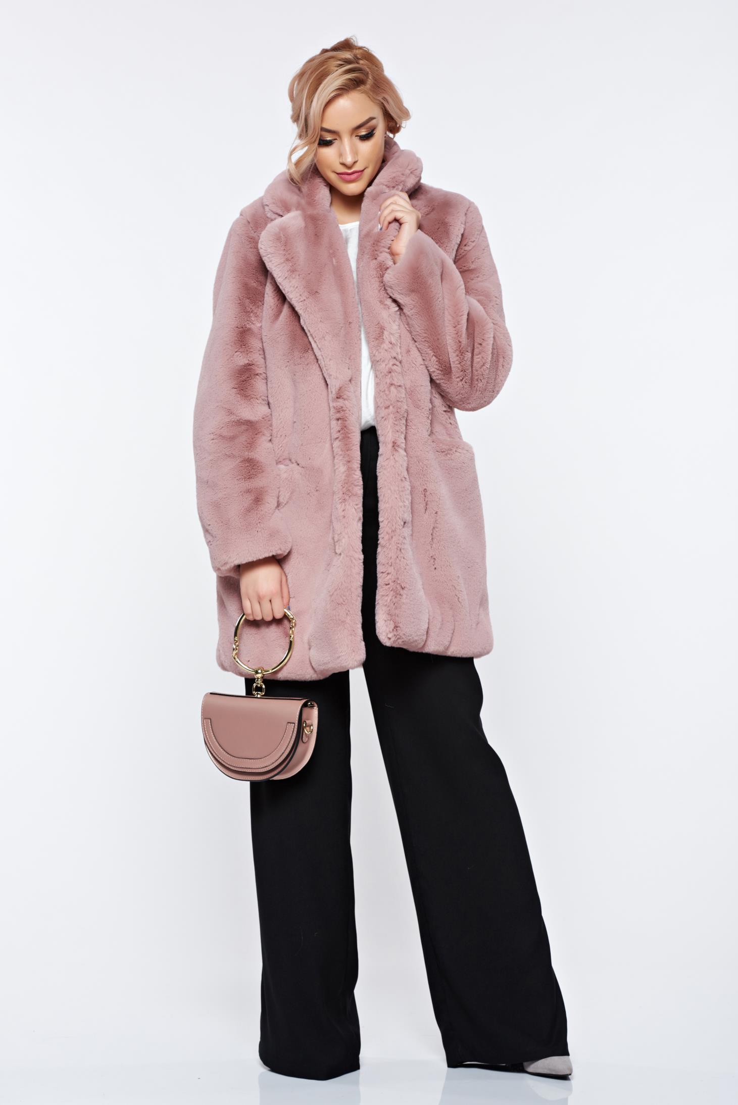Blana rosa elegant cu buzunare in fata captusit pe interior