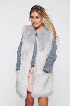 Grey casual ecological fur gilet straight cut