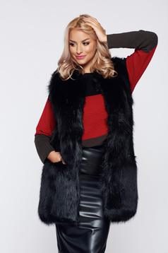 Black casual ecological fur gilet with straight cut