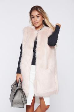 Rosa casual ecological fur gilet straight cut