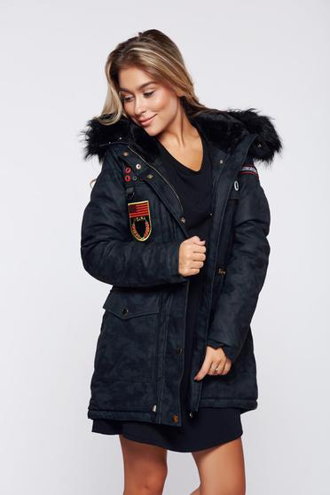 Black casual jacket with faux fur lining from ecological leather