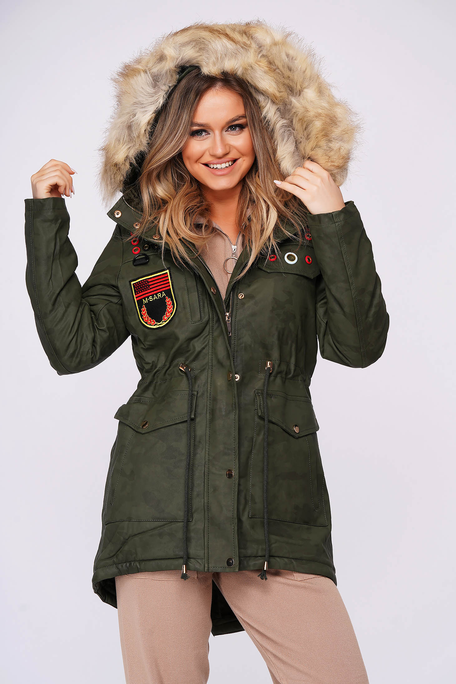 Darkgreen casual jacket with faux fur lining from ecological leather
