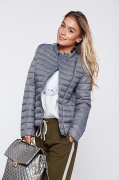 Grey casual slicker jacket zipper details pockets