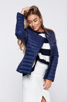Darkblue casual slicker jacket zipper details pockets