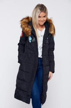 Black casual slicker jacket with inside lining