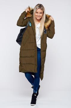 Darkgreen casual slicker jacket inside lining
