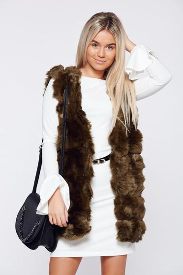 Darkgreen ecological fur elegant gilet with inside lining