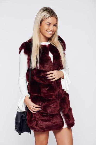 Burgundy casual ecological fur gilet with pockets