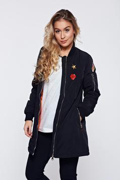 Black embroidered casual jacket zipper details pockets