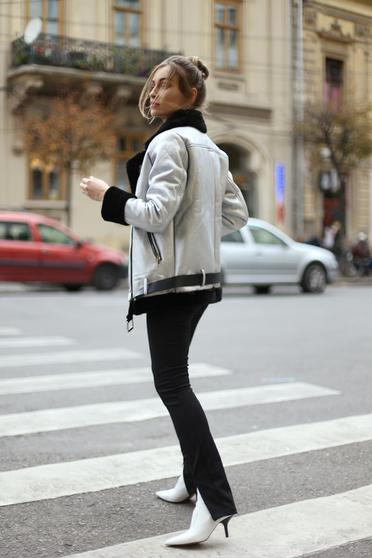 Silver casual jacket accessorized with belt faux fur lining