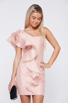 Occasional Ana Radu rosa one shoulder dress with ruffle details