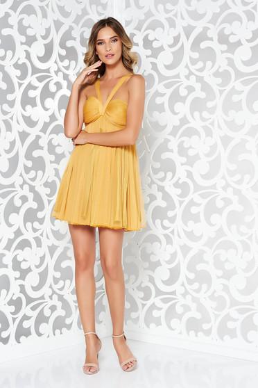 Ana Radu occasional mustard yellow cloche dress with push-up bra