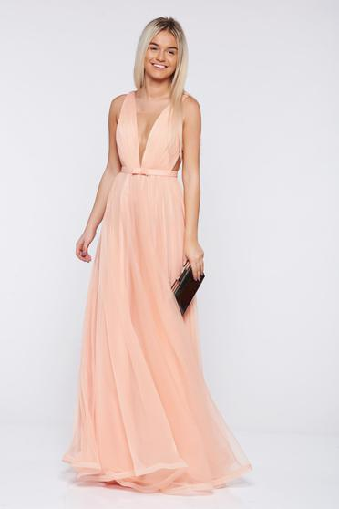 Ana Radu occasional net peach dress with v-neckline